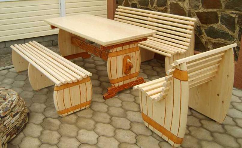Мебель из дерева в баню