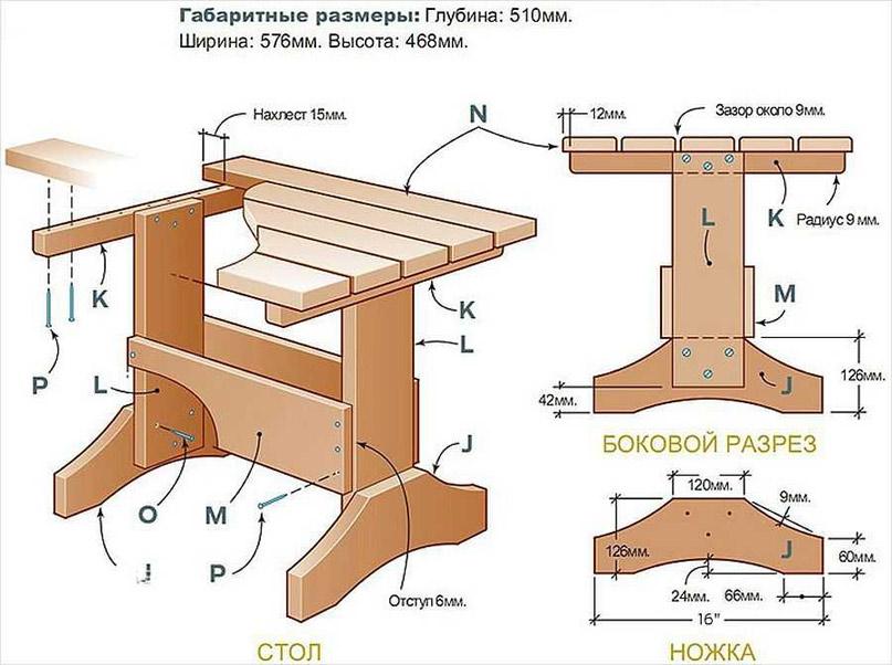 Чертеж стола в баню или сауну
