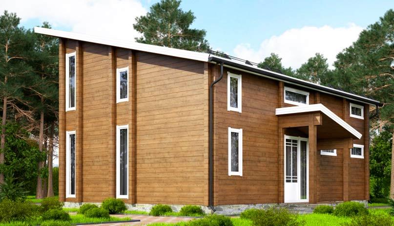 Финский дом с односкатной крышей