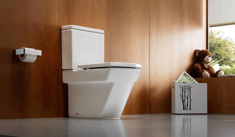 Унитаз в просторном туалете