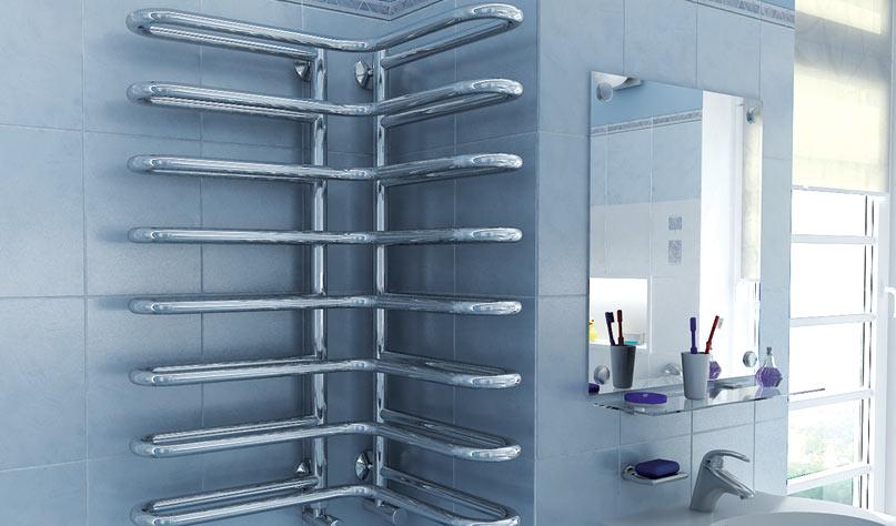 Водяной угловой полотенцесушитель в ванной