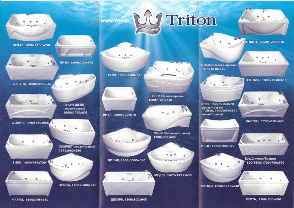 модели ванн Тритон