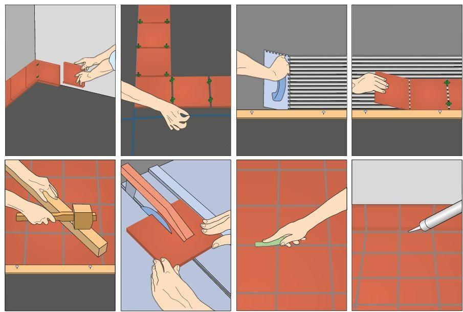 Схема монтажа плитки