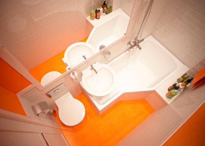 ванная с оранжевым полом