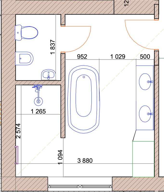 Ванная комната стандартная планировка дизайна 96